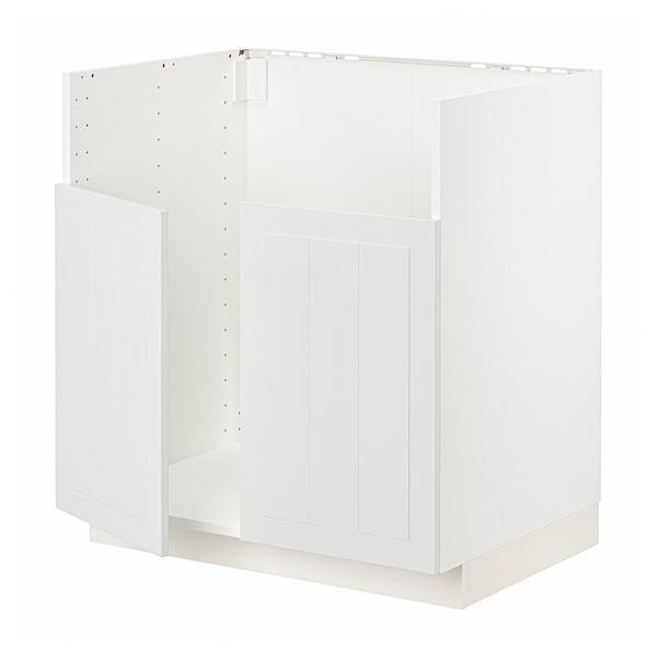 METOD Rangement bas évier 2 bacs BREDSJÖN, blanc/Stensund blanc, 80x60 cm