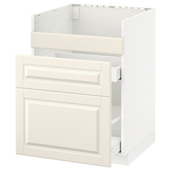 METOD Rangement bas évier HAVSEN/3fa/2tir, blanc/Bodbyn blanc cassé, 60x60 cm
