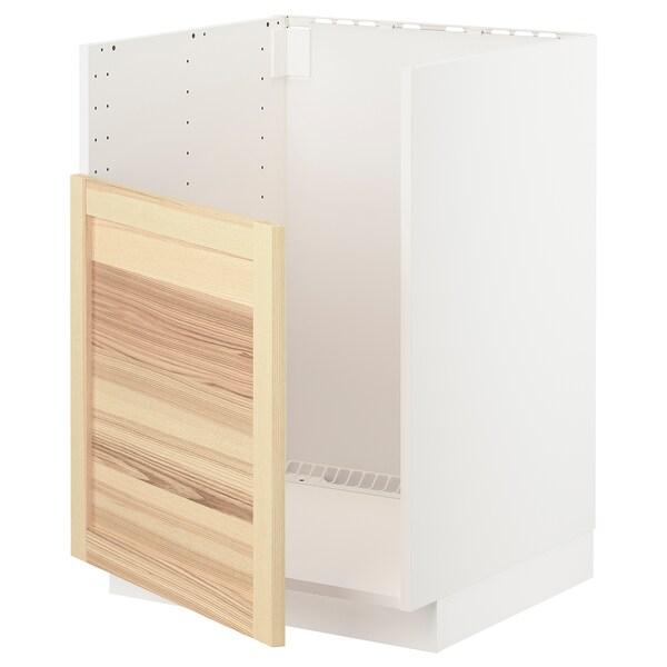 METOD Rangement bas pr évier BREDSJÖN, blanc/Torhamn frêne, 60x60 cm