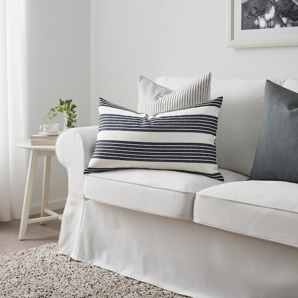 METTALISE Housse de coussin, blanc/gris foncé, 40x65 cm