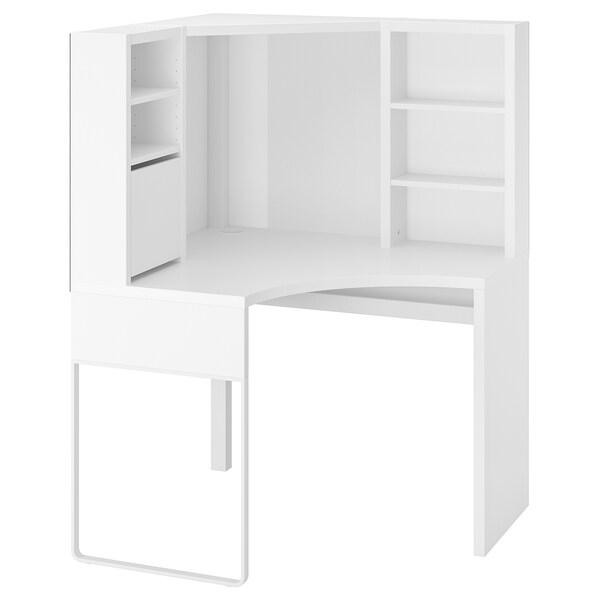 MICKE poste de travail d'angle blanc 100 cm 100 cm 142 cm