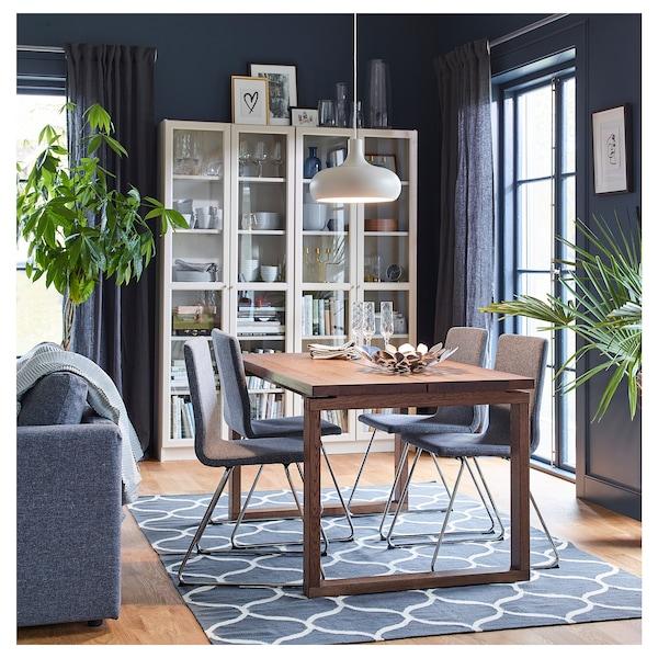 MÖRBYLÅNGA Table, plaqué chêne teinté brun, 140x85 cm