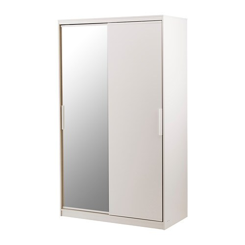 Morvik armoire penderie blanc miroir ikea for Armoire penderie chambre