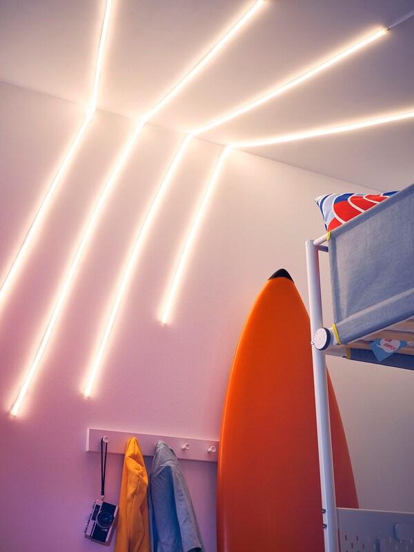 MYRVARV Baguette lumineuse souple à LED, intensité lumineuse réglable, 2 m
