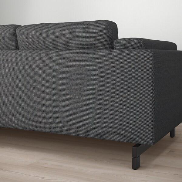 NOCKEBY canapé 3 places Lejde gris foncé/bois 251 cm 97 cm 82 cm 15 cm 60 cm 44 cm