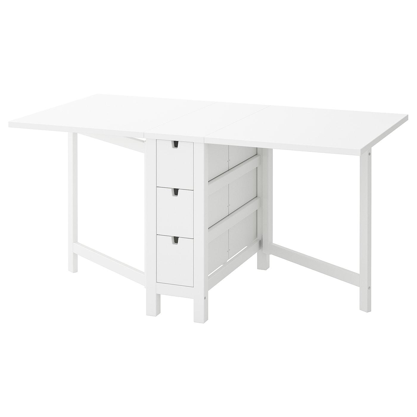Table Rabattable Petit Espace norden table à rabat - blanc 26/89/152x80 cm