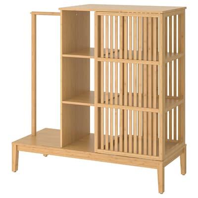 NORDKISA armoire ouverte av porte couliss bambou 120 cm 47 cm 123 cm