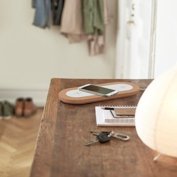NORDMÄRKE Station de charge triple sans fil, blanc/liège