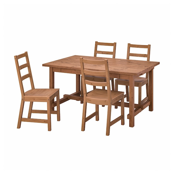 NORDVIKEN / NORDVIKEN Table et 4 chaises, vernis effet anc/vernis effet anc, 152/223x95 cm