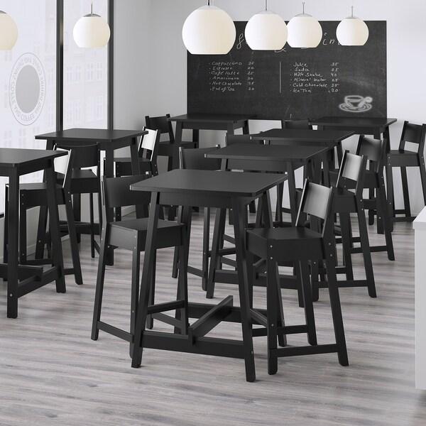 NORRÅKER Table de bar, noir, 74x74x102 cm