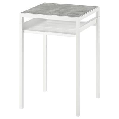 NYBODA Table d'appoint plateau réversible, gris clair imitation ciment/blanc, 40x40x60 cm