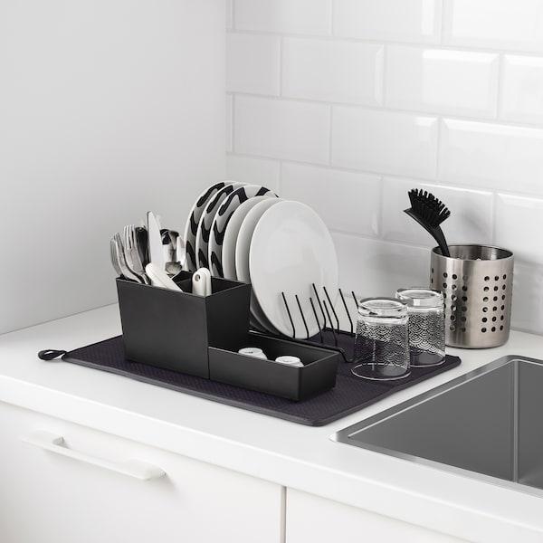 NYSKÖLJD Tapis séchage vaisselle, gris foncé, 44x36 cm