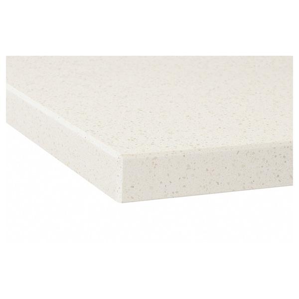 OXSTEN Plan de travail sur mesure, blanc motif minéral/quartz, 30-45x3.8 cm