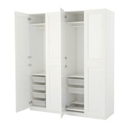 PAX armoire-penderie, blanc, Grimo blanc