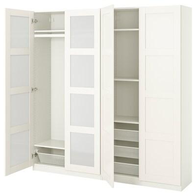 PAX / BERGSBO Combinaison armoire, blanc/verre givré, 200x38x201 cm