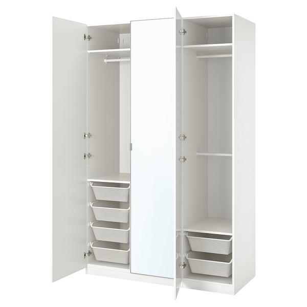 PAX / FARDAL/ÅHEIM Combinaison armoire, brillant blanc/miroir, 150x60x236 cm