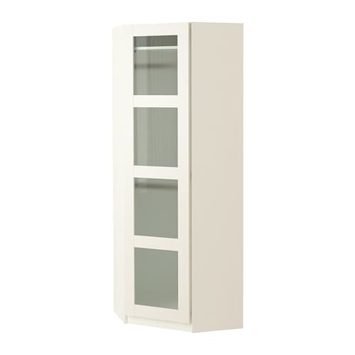 Pax penderie d 39 angle bergsbo verre givr blanc blanc 73 73x201 cm ikea for Penderie peu profonde
