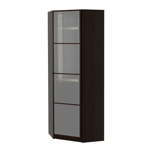pax penderie d 39 angle fevik brun noir verre givr brun noir 73 73x201 cm ikea. Black Bedroom Furniture Sets. Home Design Ideas