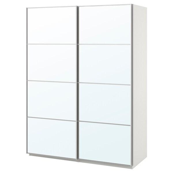 PAX armoire-penderie blanc/Auli miroir 150 cm 66 cm 201.2 cm
