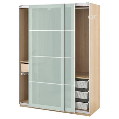 PAX armoire-penderie effet chêne blanchi/Sekken verre givré 150.0 cm 66.0 cm 201.2 cm