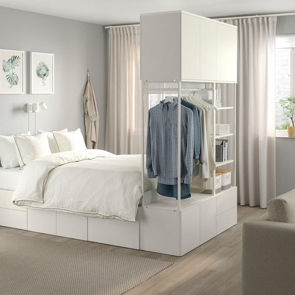 PLATSA Cadre de lit 8 portes + 4 tiroirs, blanc/Fonnes, 142x244x223 cm