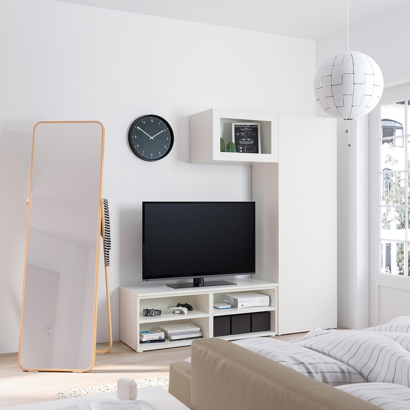 Platsa Combi Rangement Tv Avec 2 Portes Blanc Fonnes Vard Ikea Suisse
