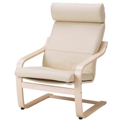 POÄNG fauteuil plaqué bouleau/Glose coquille d'oeuf 68 cm 82 cm 100 cm 56 cm 50 cm 42 cm