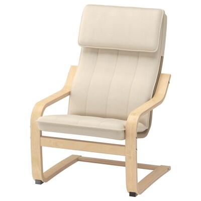 POÄNG fauteuil enfant plaqué bouleau/Almås naturel 47 cm 60 cm 68 cm 38 cm 36 cm 25 cm