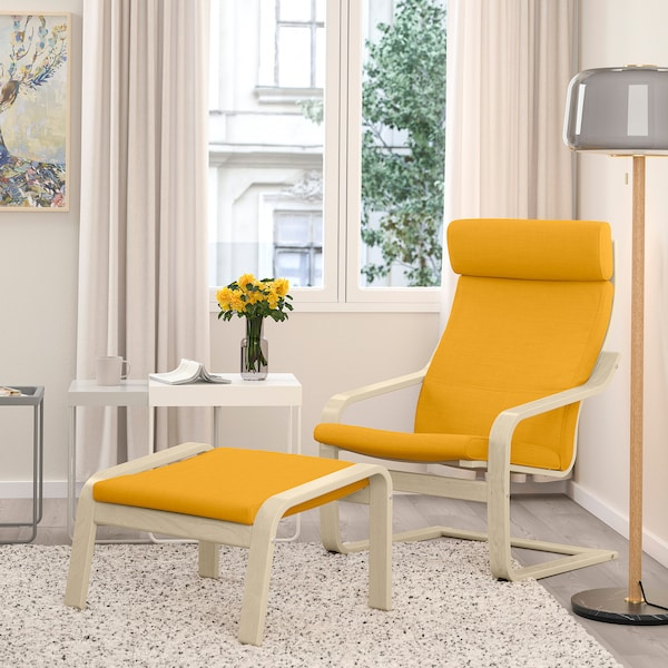 POÄNG Fauteuil, plaqué bouleau/Skiftebo jaune