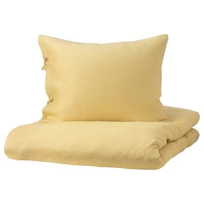 PUDERVIVA Housse de couette et taie, jaune clair, 150x200/50x60 cm