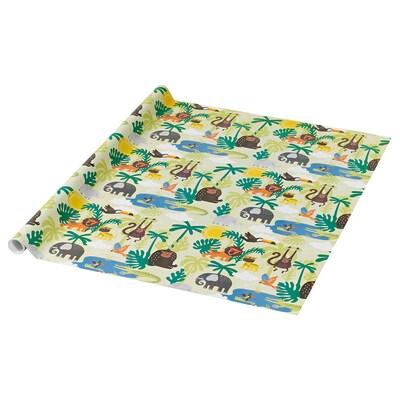 PURKEN Papier cadeau, animal/vert, 3.0x0.7 m