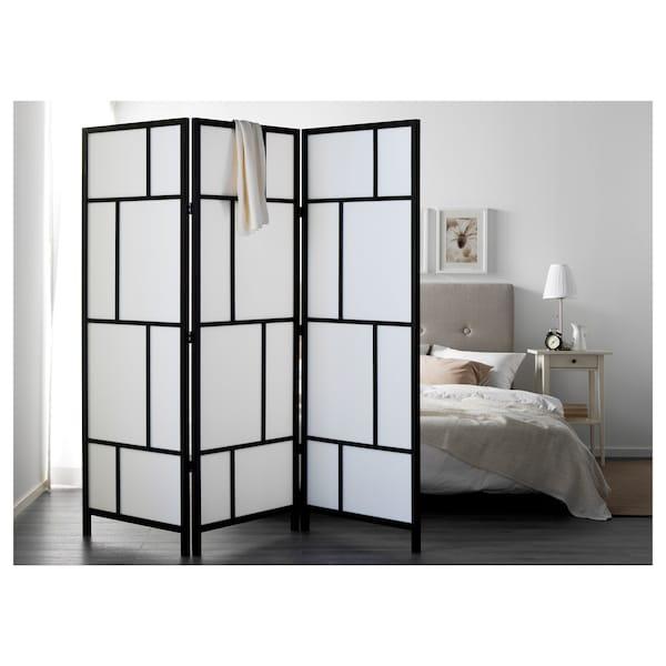 RISÖR Paravent, blanc/noir, 216x185 cm