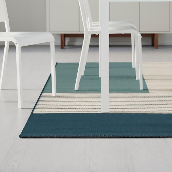 ROSKILDE tapis tissé à plat intérieur/extérieur vert bleu 250 cm 200 cm 5 mm 5.00 m² 1600 g/m²