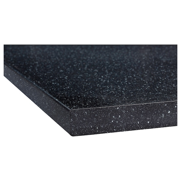 SÄLJAN Plan de travail sur mesure, noir motif minéral/stratifié, 10-45x3.8 cm