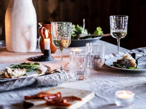 SÄLLSKAPLIG Verre à vin, verre transparent/à motifs, 27 cl