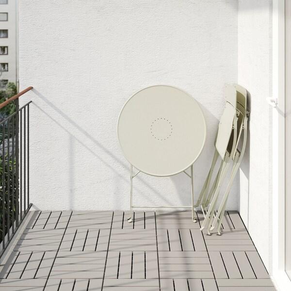 SALTHOLMEN table+2 chaises pliantes, extérieur beige/Kuddarna bleu clair