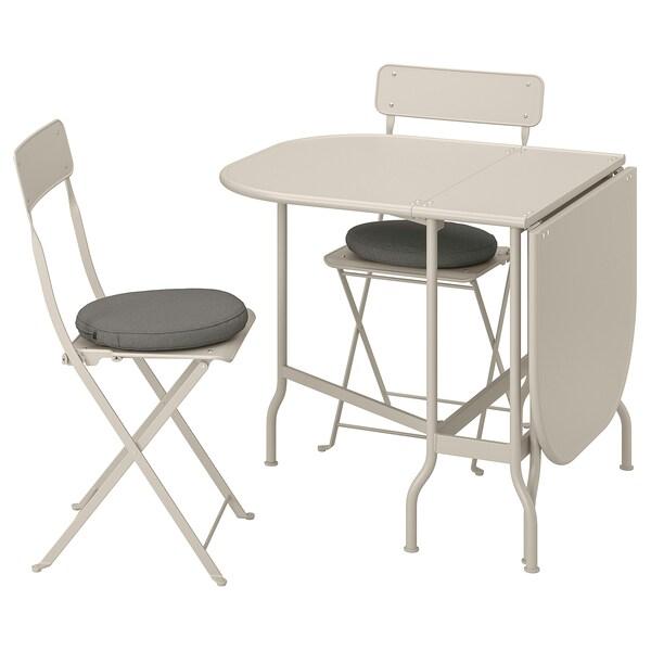 SALTHOLMEN Table pliante + 2 chaises, ext, beige/Frösön/Duvholmen gris foncé