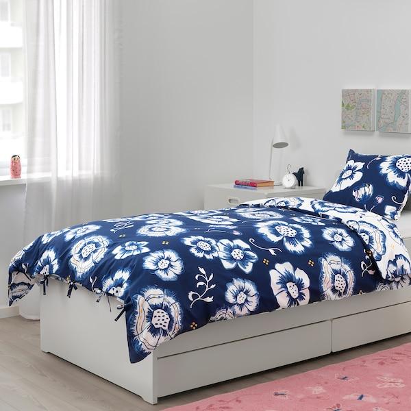SÅNGLÄRKA housse de couette et taie fleur/bleu foncé blanc 200 cm 150 cm 50 cm 60 cm