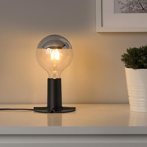 SILLBO / SKALLRAN pied de lampe de table avec ampoule globe argenté effet miroir/gris foncé 370 lm 2200 Kelvin 22 W 11 cm 125 mm 14 cm 2.5 m 4 W