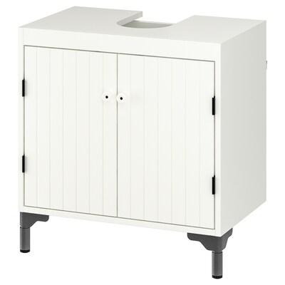 SILVERÅN Élément bas lavabo 2 portes, blanc, 60x38x63 cm