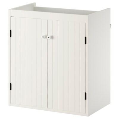 SILVERÅN élément lavabo à 2 portes blanc 60 cm 38 cm 67.6 cm