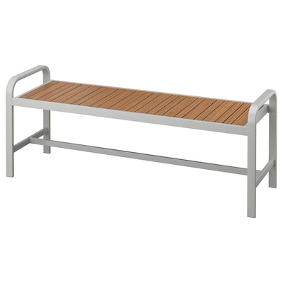 SJÄLLAND Banc, extérieur, gris clair/brun clair, 136 cm