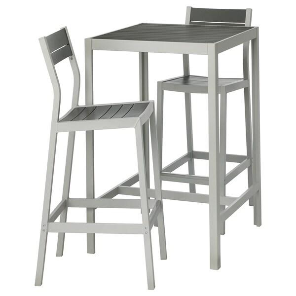 Table Bar Et 2 Tabourets Extérieur Själland Gris Foncé Gris Clair