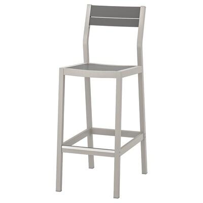SJÄLLAND Chaise de bar, extérieur, gris clair/gris foncé