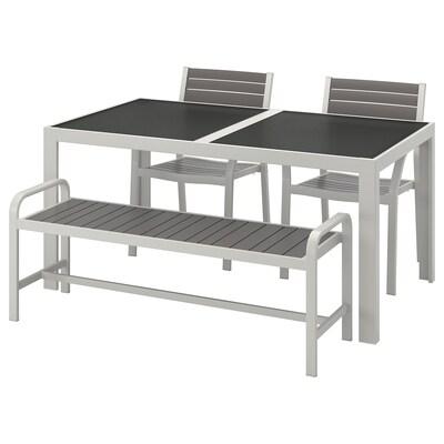 SJÄLLAND table+2 chaises+banc, ext verre gris/gris clair 156 cm 90 cm 73 cm
