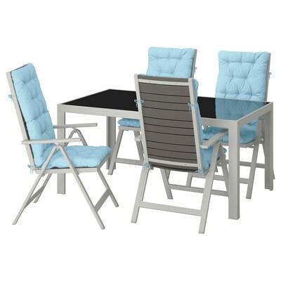 SJÄLLAND table+4 chais doss régl, extérieur verre/Kuddarna bleu clair 156 cm 90 cm 73 cm