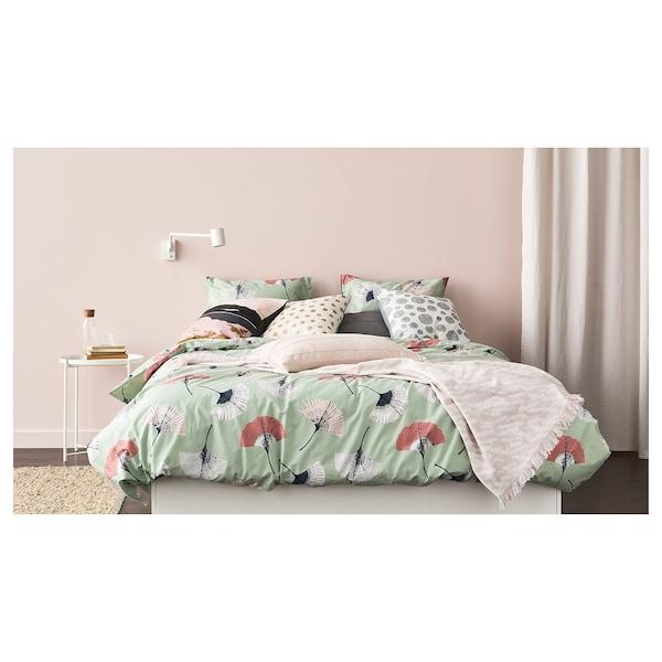 SKÄGGÖRT Housse de coussin, blanc/couleur or, 50x50 cm