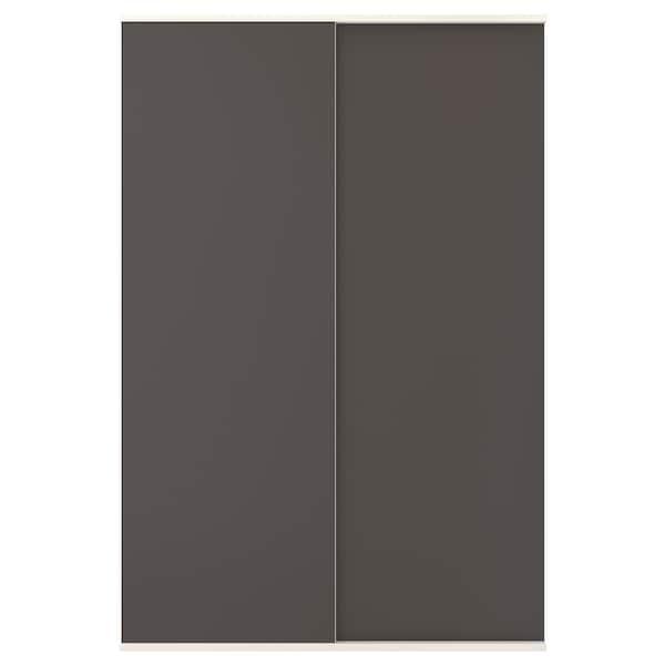 SKATVAL Porte coulissante avec rail, gris foncé, 120x180 cm