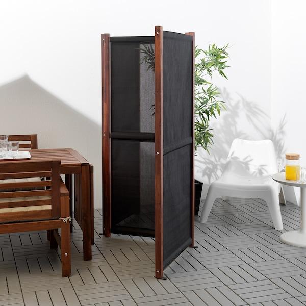SLÄTTÖ Paravent, extérieur, noir/teinté brun, 211x170 cm