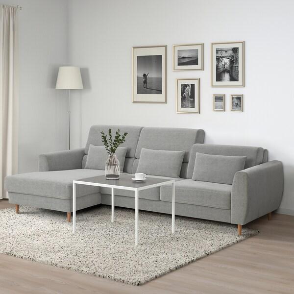 SLATORP Canapé 3 places, avec méridienne, droite/Tallmyra blanc/noir